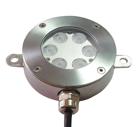 6 x 2 Watt, IP68, 24V, Warm White, Pool, Pond Light, Stainless Steel, Surface Mount, Clear Diffuser
