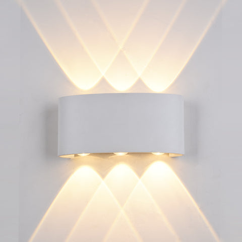 Wall Light, Up and down Light, 240VAC, 2x5W, IP54, 2700K, Sand White