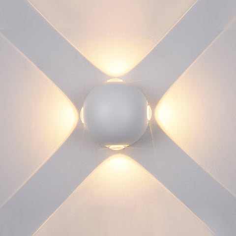 Wall Light, Up and down Light, 240VAC, 4x1W, IP54, 2700K, Sand white