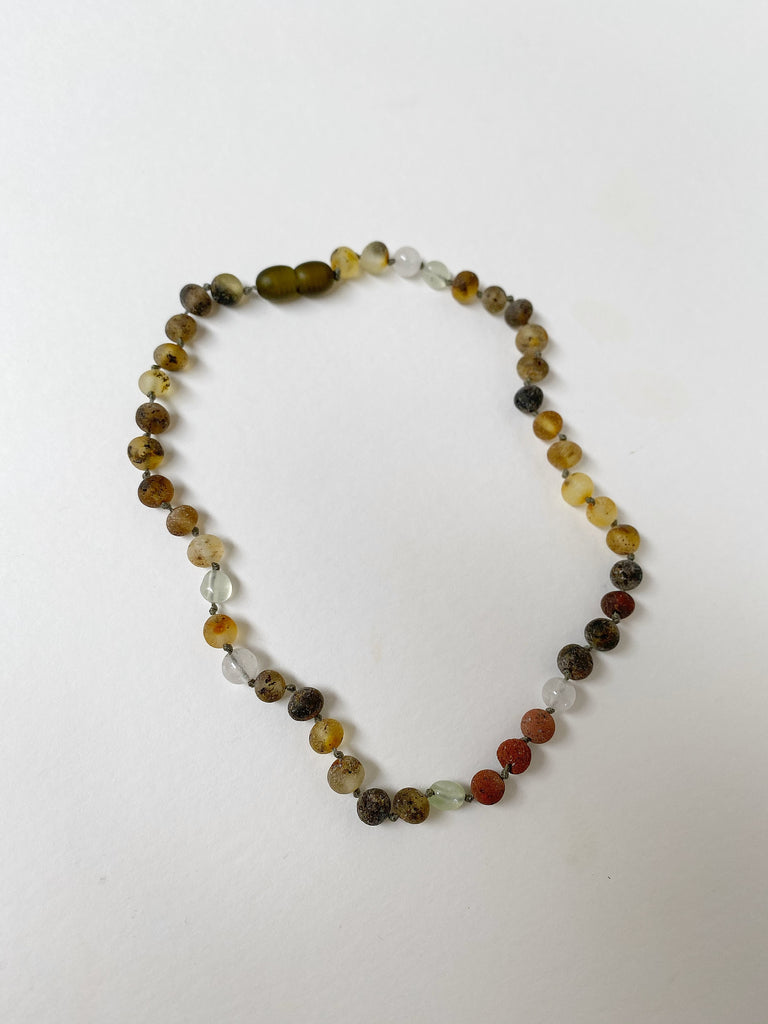 Raw Baltic Amber Necklace | Moss