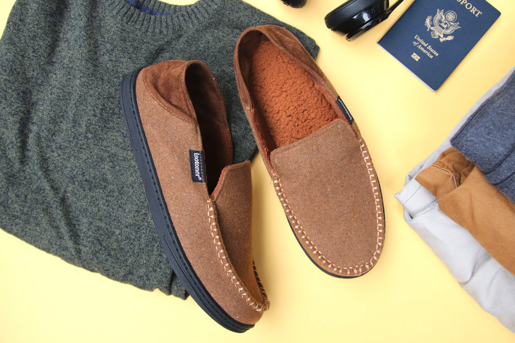 isotoner Men's Grady Moccasin Slippers with Collapsible Heel