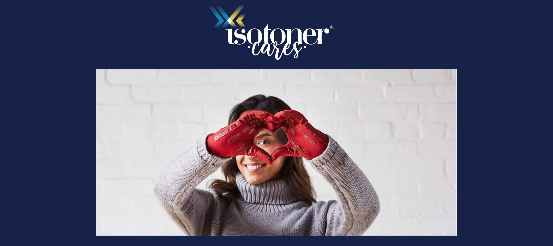 Isotoner Cares logo with women making heart wearing gloves