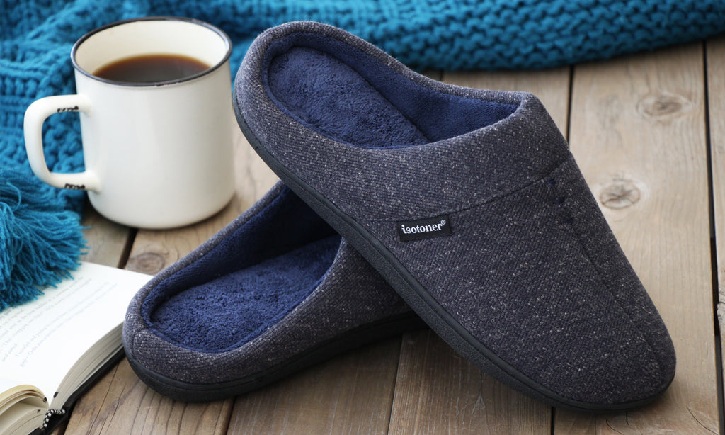 isotoner Men's Preston Heather Knit Hoodback Slippers for Father's Day