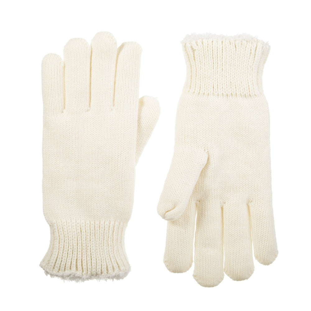 Women's Solid Knit Gloves Ivory Front and Back View