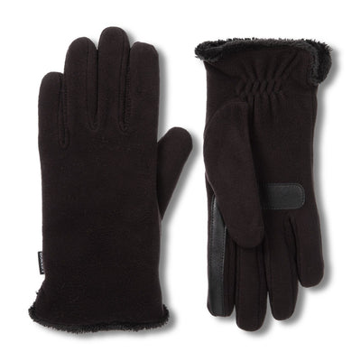 Women's Stretch Fleece Gloves in Black Front and Back