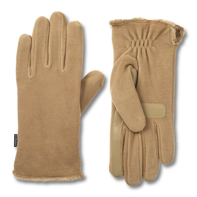 womens recycled stretch fleece glove in camel