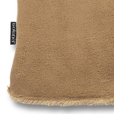 womens stretch fleece glove close up in camel