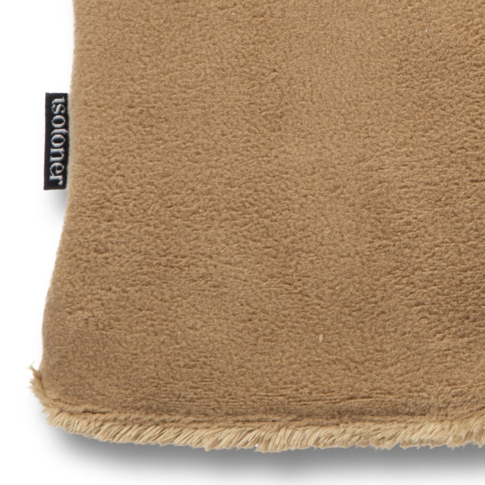 Women's Stretch Fleece Gloves in Camel Close Up of Cuff