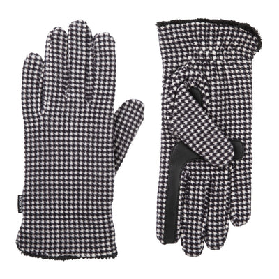 womens recycled stretch fleece glove in houndstooth pattern