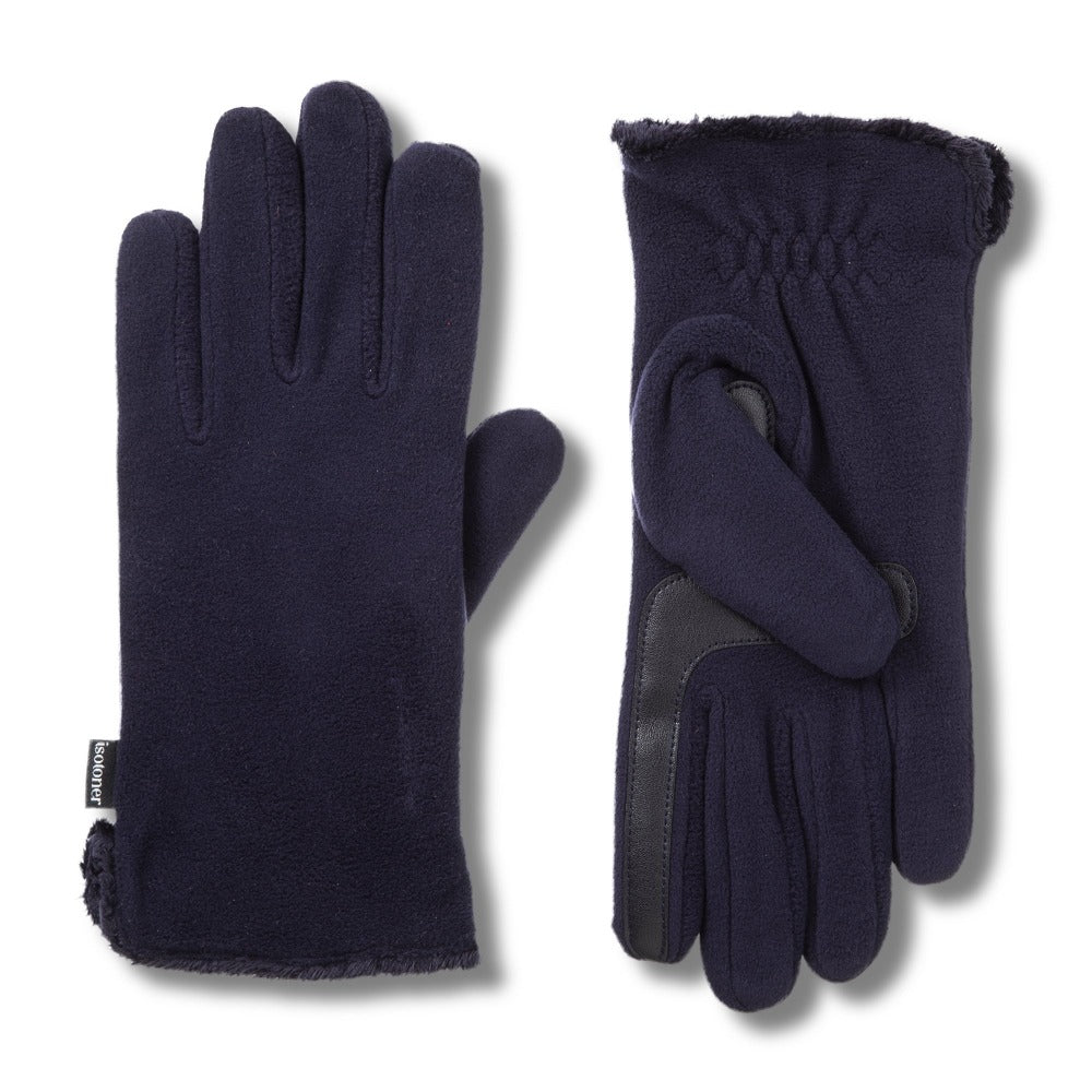 Women's Stretch Fleece Gloves in Midnight (Dark Navy) Front and Back