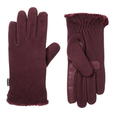 Women's Stretch Fleece Gloves in Plum Front and Back