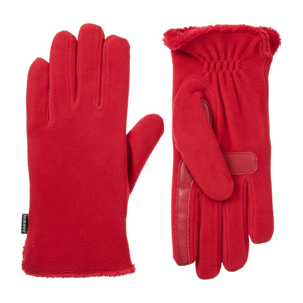 Women's Stretch Fleece Gloves in Really Red Front and Back
