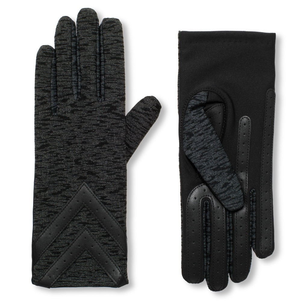 Women's Chevron Spandex Gloves in Black Animal Texture Front and Back