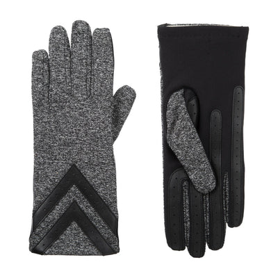 Women's Chevron Spandex Gloves in Black Heather Front and Back