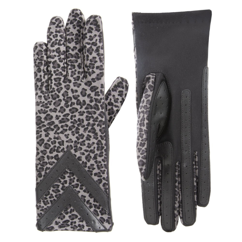 Women's Chevron Spandex Gloves in Grey Leopard Front and Back