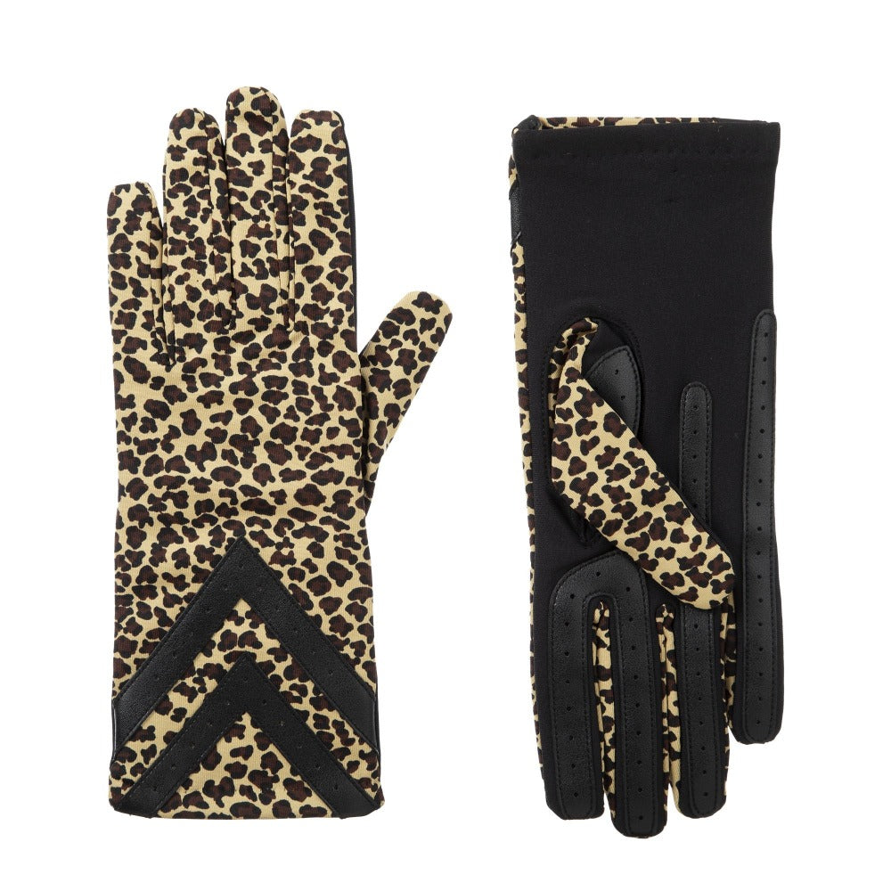 Women's Chevron Spandex Gloves in Leopard Front and Back