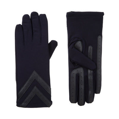 Women's Chevron Spandex Gloves Gloves Midnight (Dark Navy) Front and Back