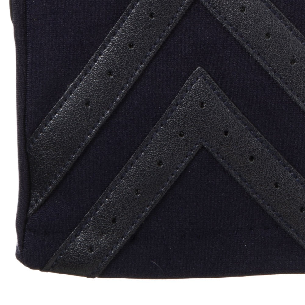 Women's Chevron Spandex Gloves Gloves in Midnight (Dark Navy) Chevron Cuff Detail