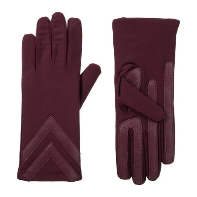Women's Chevron Spandex Gloves Gloves Plum Front and Back