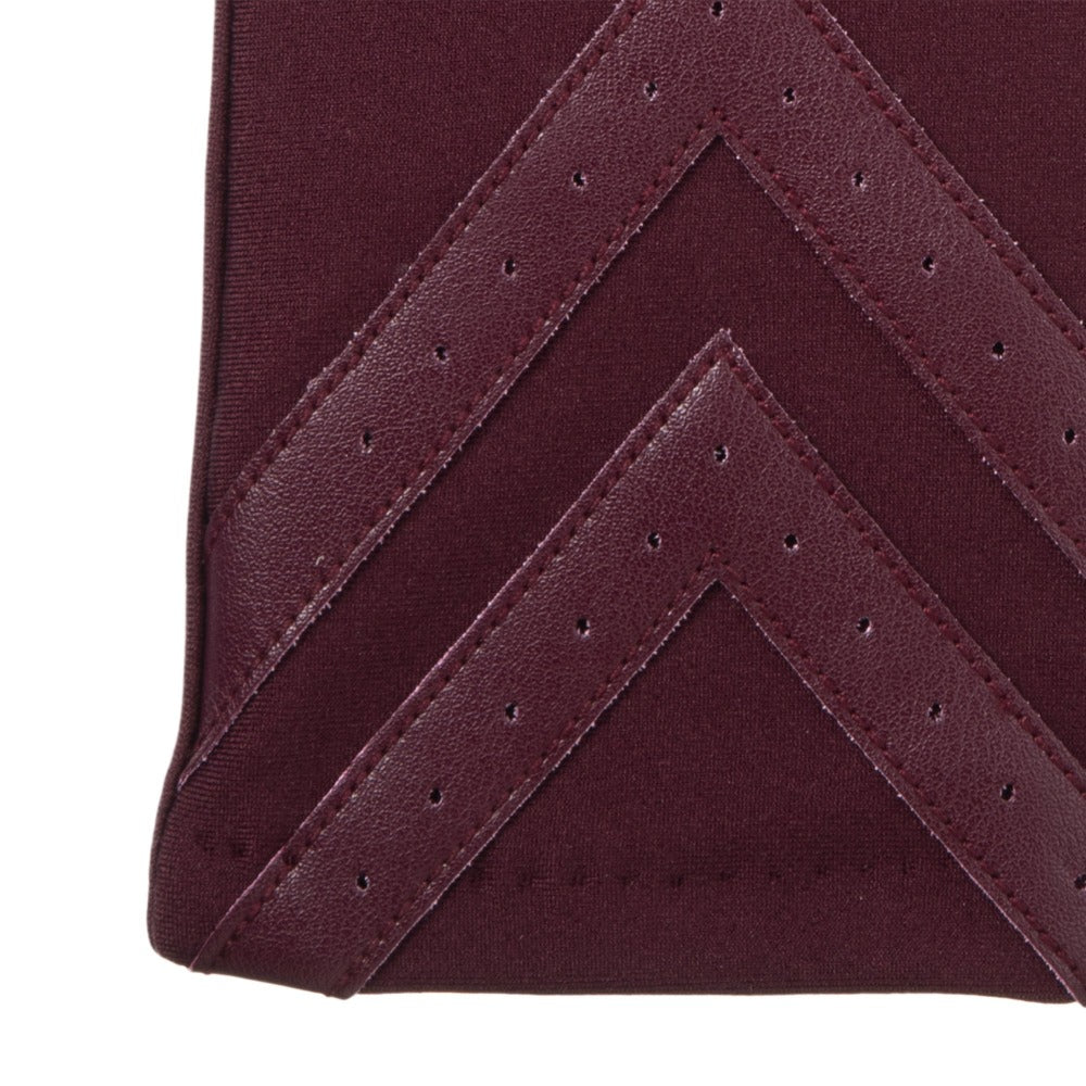 Women's Chevron Spandex Gloves Gloves in Plum Chevron Cuff Detail