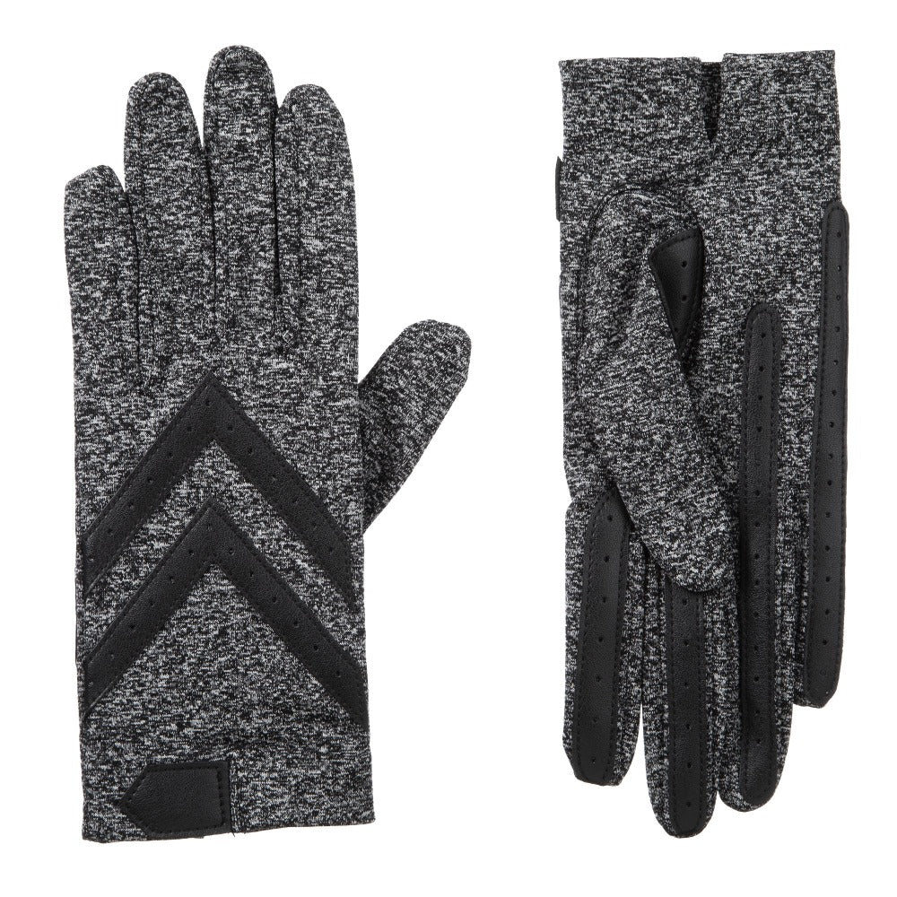 Women's Chevron Shortie Gloves in Black Heather Front and Back