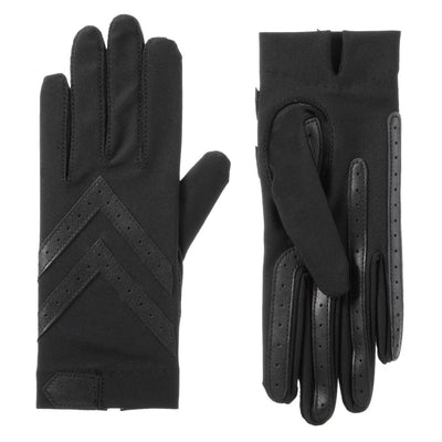Women's Chevron Shortie Gloves in Black Front and Back