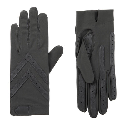 Women's Chevron Shortie Gloves in Charcoal Front and Back