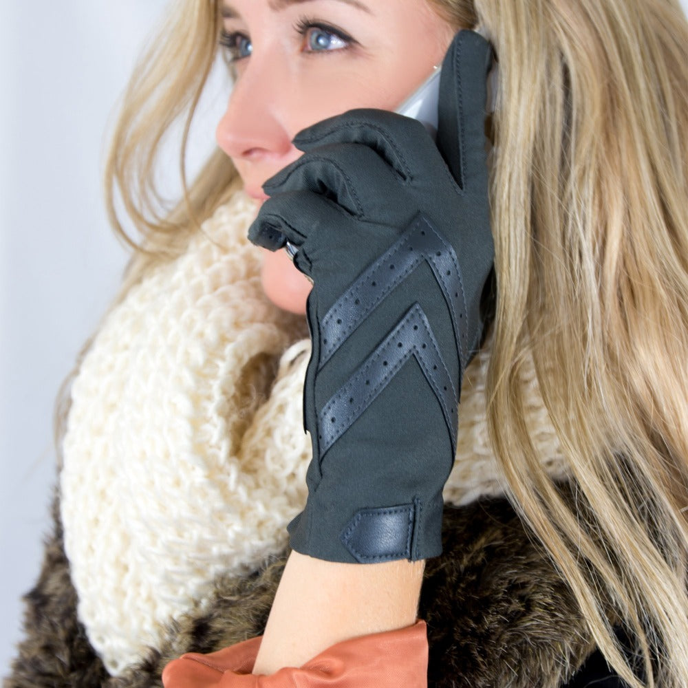 Women's Chevron Shortie Gloves in Black on Model