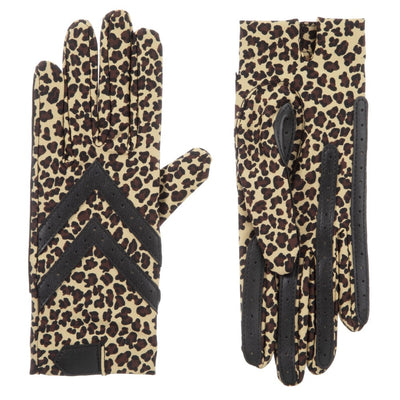 Women's Chevron Shortie Gloves in Leopard Print Front and Back