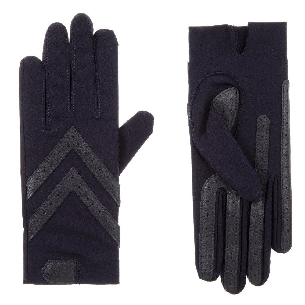 Women's Chevron Shortie Gloves in Midnight (Dark Navy) Front and Back
