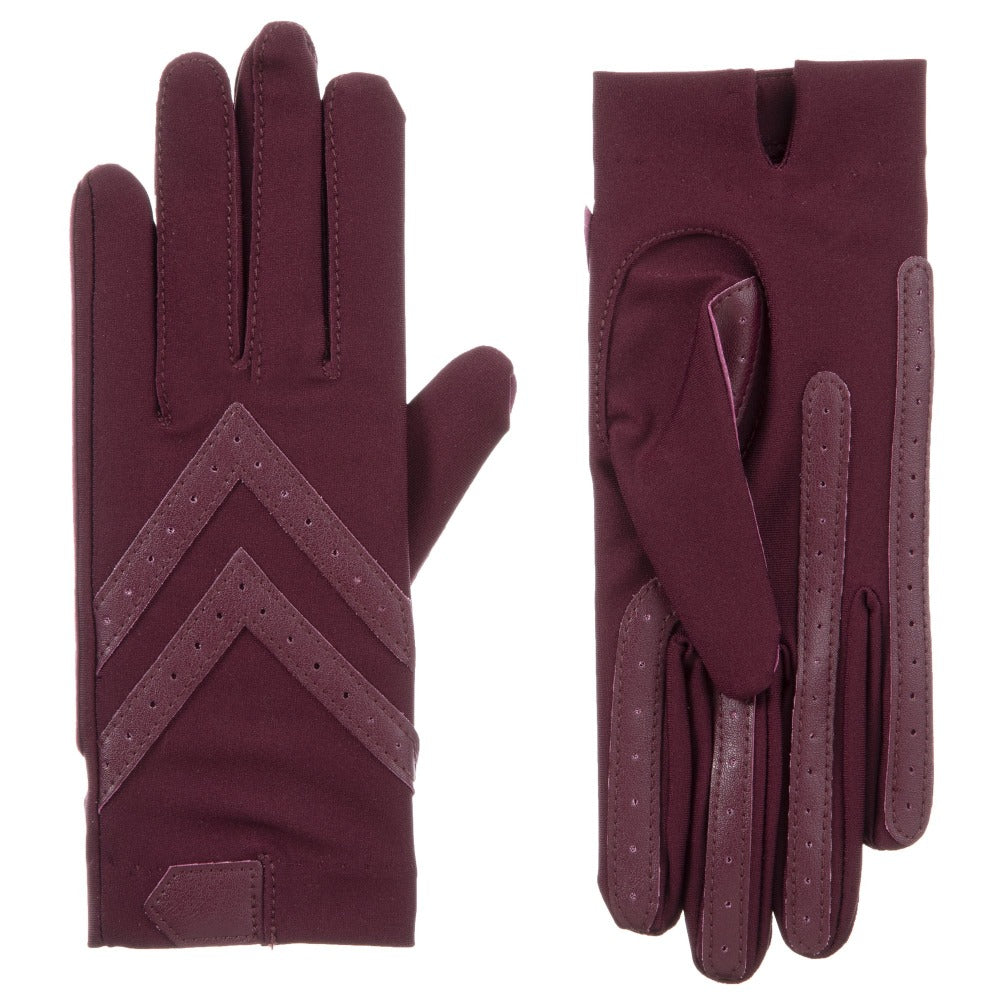 Women's Chevron Shortie Gloves in Plum Front and Back