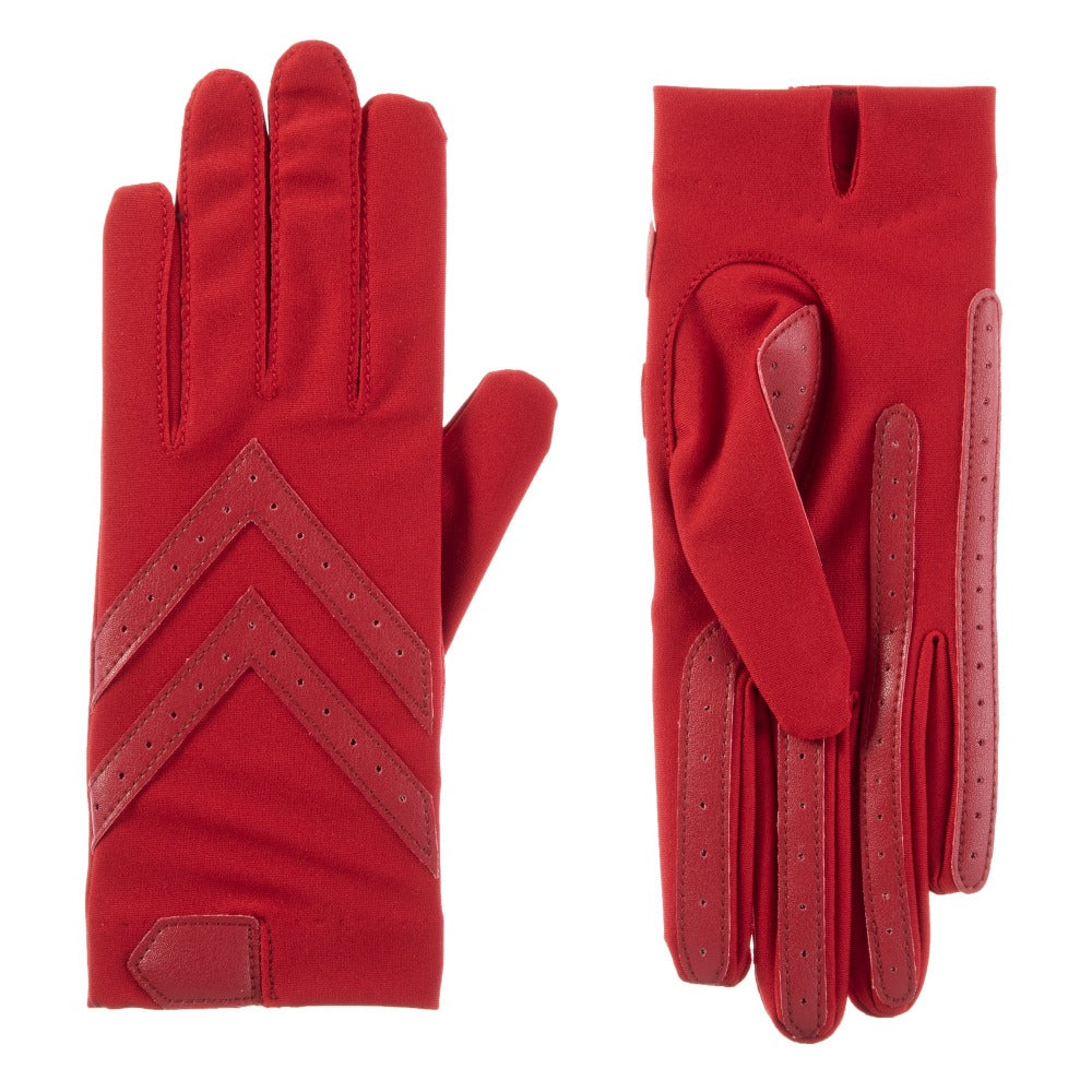 Women's Chevron Shortie Gloves in Really Red Front and Back