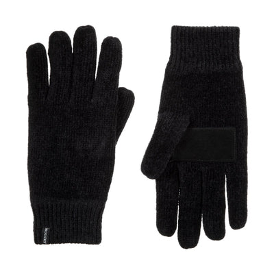 Women's Chenille Gloves with Ultraplush Lining in Black Front and Back