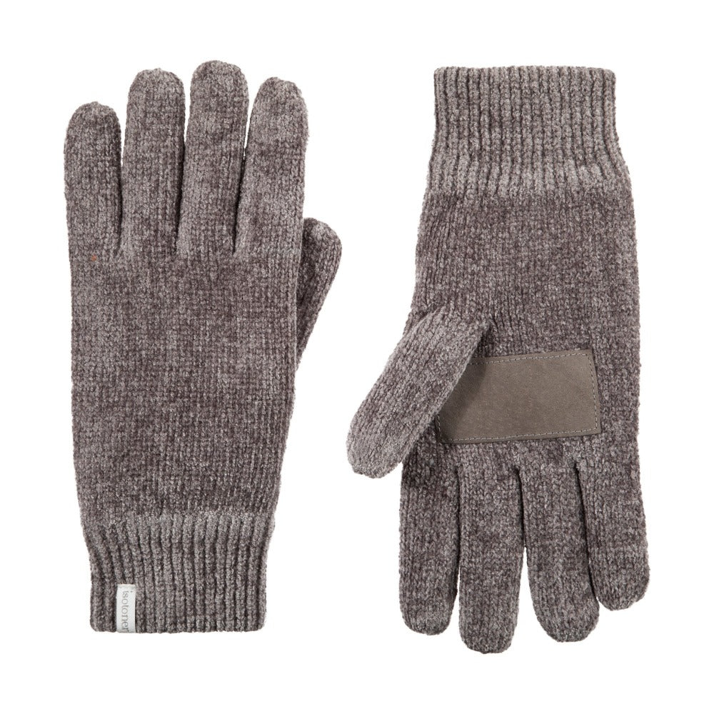 Women's Chenille Gloves with Ultraplush Lining in Chrome Grey Front and Back