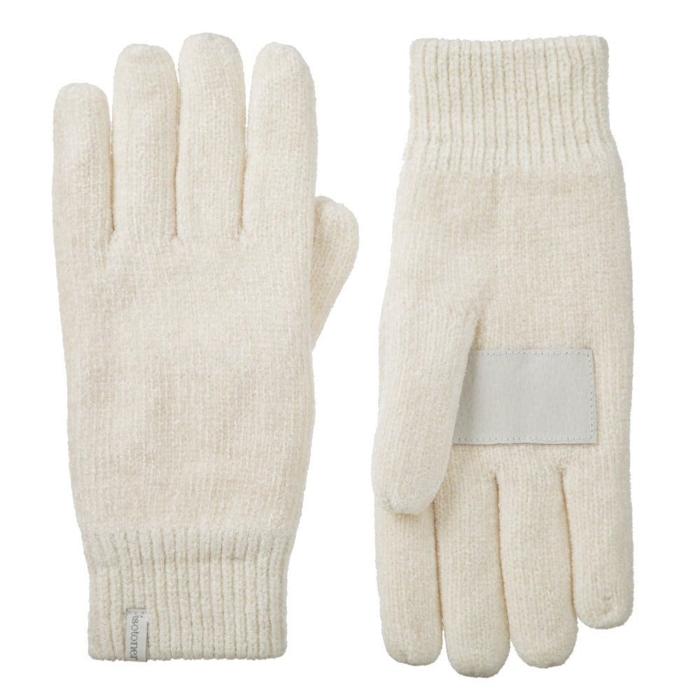 Women's Chenille Gloves with Ultraplush Lining in Ivory Front and Back