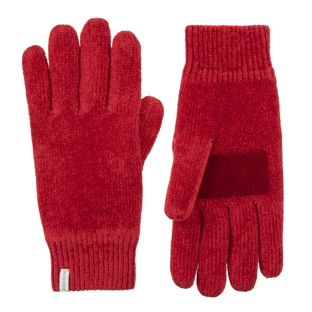 Women's Chenille Gloves with Ultraplush Lining in Really Red Front and Back