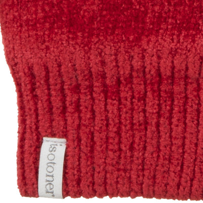 Women's Chenille Gloves with Ultraplush Lining in Really Red Cuff Detail