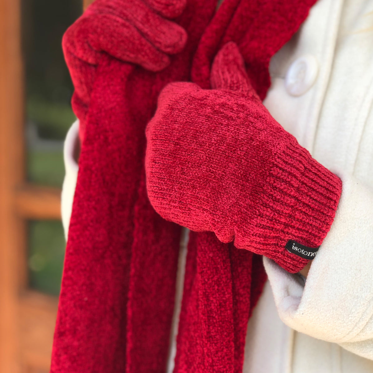 Women's Woven Chenille Scarf in Really Red on Model