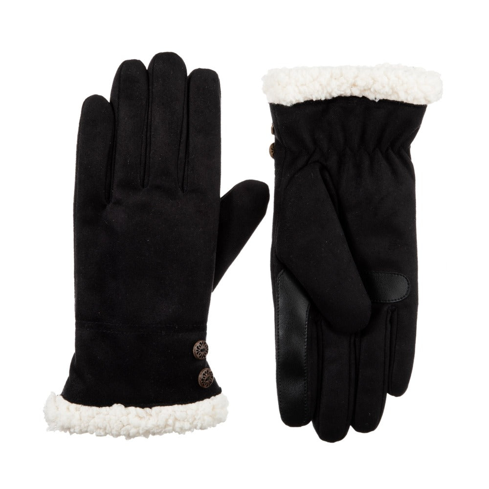 Women's Microsuede Touchscreen Gloves in Black Front and Back