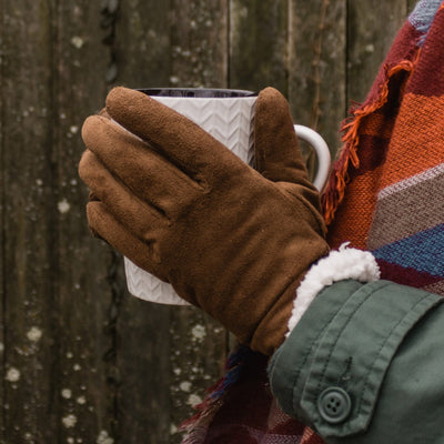 Women's Microsuede Touchscreen Gloves in Cognac on Model
