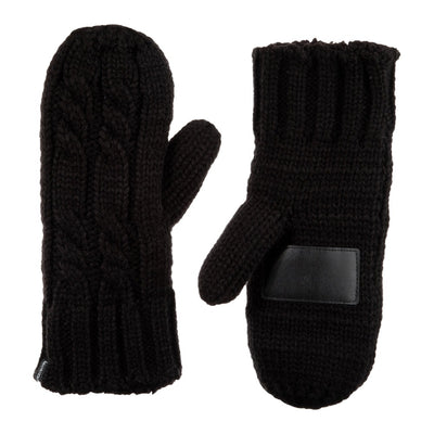 Women's Chunky Cable Knit Mittens in Black Front and Back