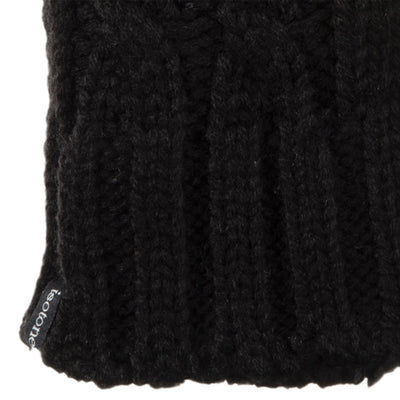 Women's Chunky Cable Knit Mittens in Black Cuff Detail