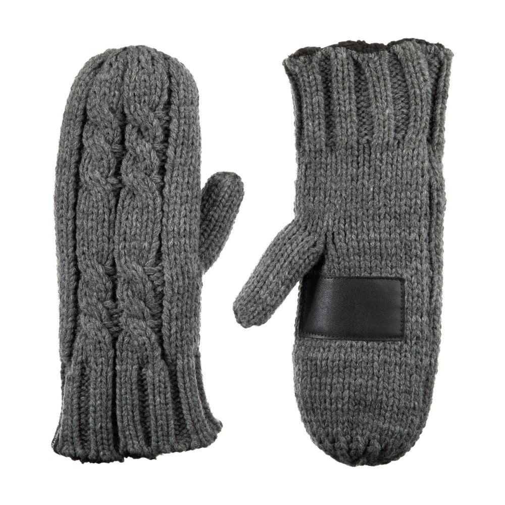Women's Chunky Cable Knit Mittens in Dark Charcoal Heather Front and Back
