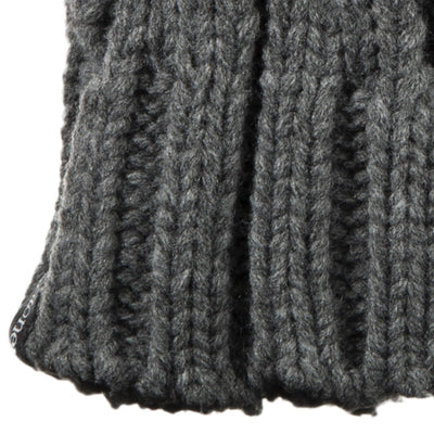 Women's Chunky Cable Knit Mittens in Dark Charcoal Heather Cuff Detail