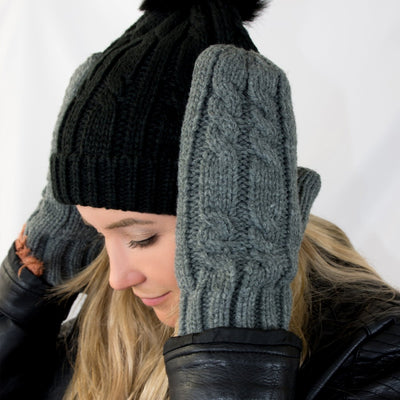 Women's Chunky Cable Knit Mittens in Dark Charcoal Heather on Model