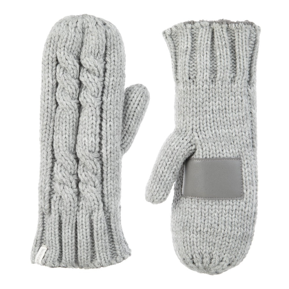 Women's Chunky Cable Knit Mittens in Heather (Grey) Front and Back