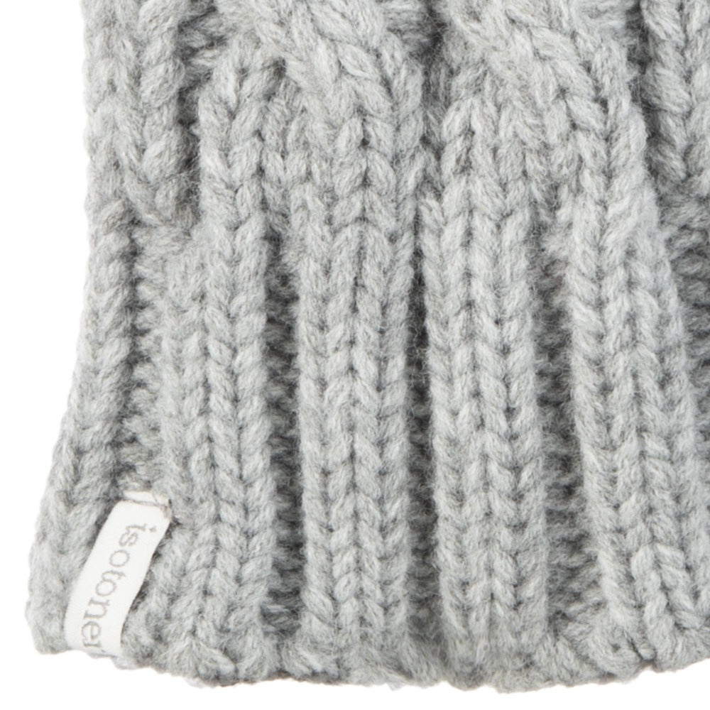 Women's Chunky Cable Knit Mittens in Heather (Grey) Cuff Detail
