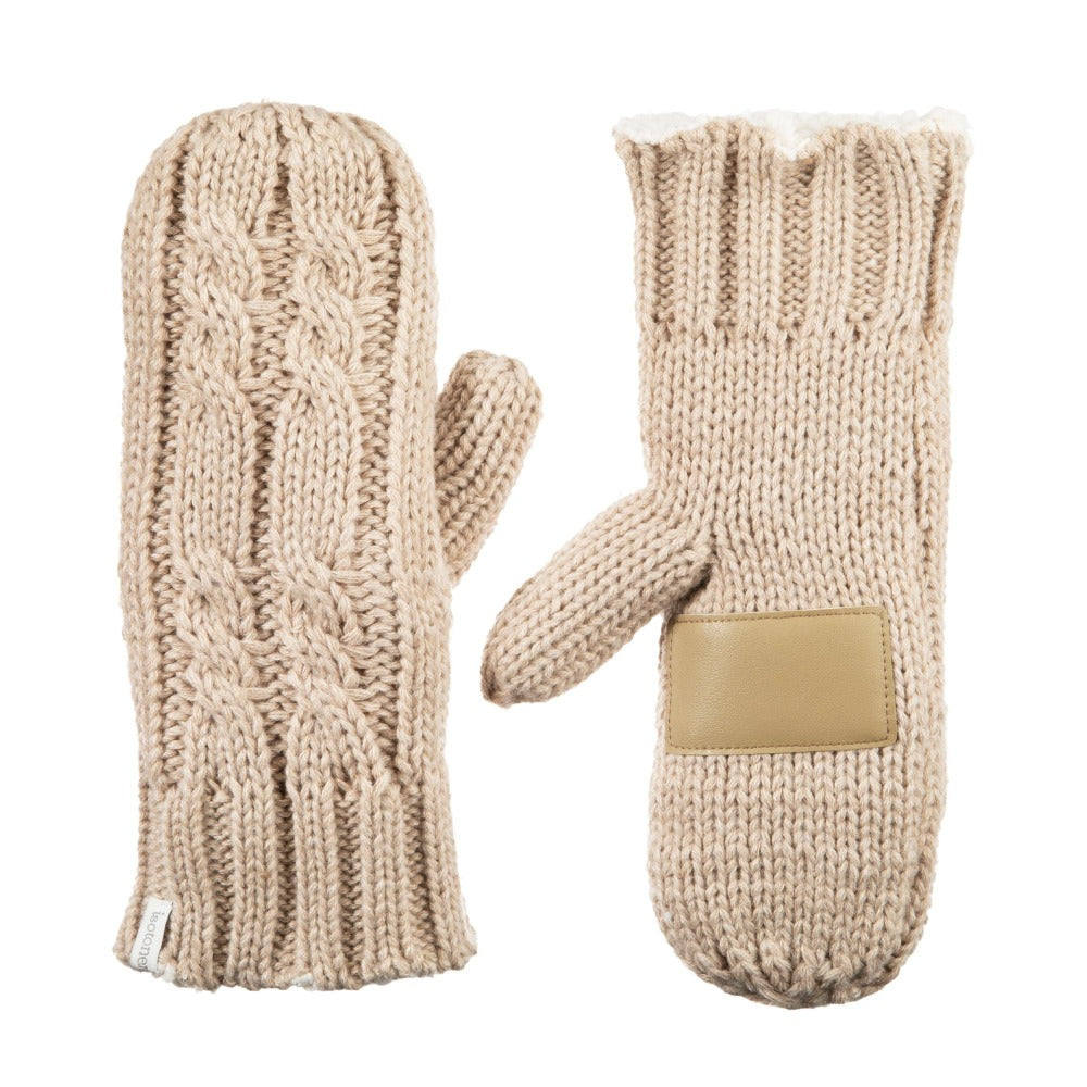 Women's Chunky Cable Knit Mittens in Oatmeal Heathered Front and Back