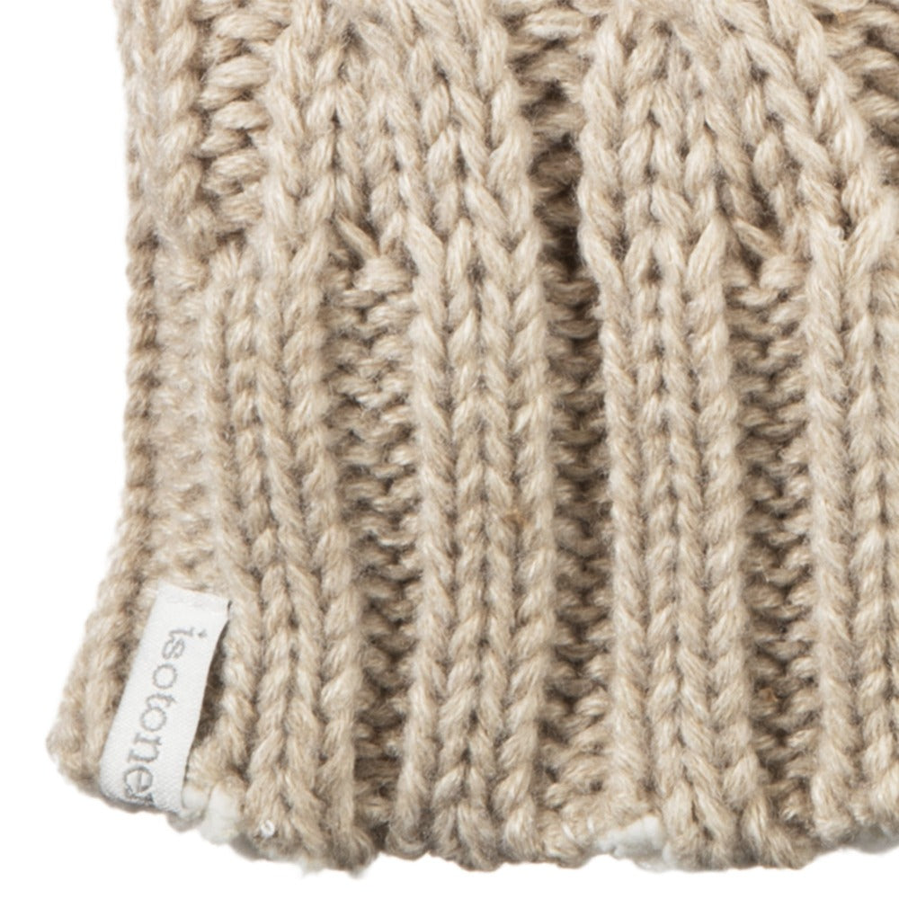 Women's Chunky Cable Knit Mittens in Oatmeal Heathered Cuff Detail