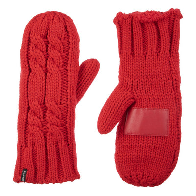 Women's Chunky Cable Knit Mittens in Really Red Front and Back